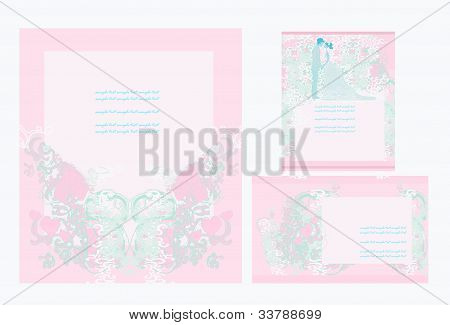 invitación de boda elegante con novios, vector illustration