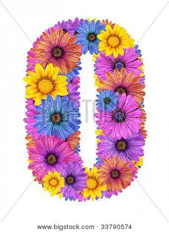 Alphabet of colorful dewy flowers, O