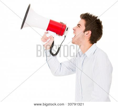 Man screaming with megaphone - isolated over a white background
