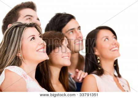 Group of people daydreaming - isolated over a white background