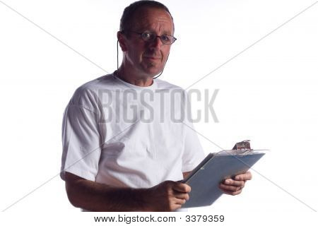 Senior Man With Clipboard