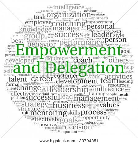 Empowerment and Delegation concept in word tag cloud on white background
