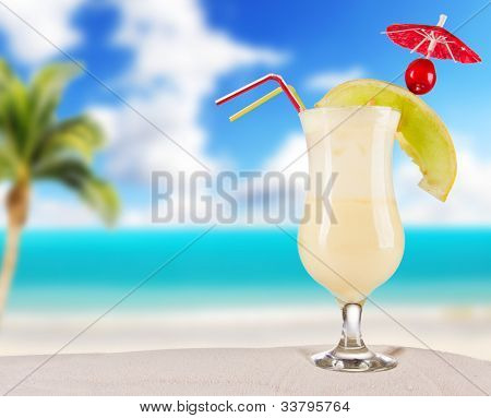 Cocktail drink on beach