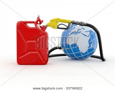 Earth, gas pump nozzle and canister. 3d