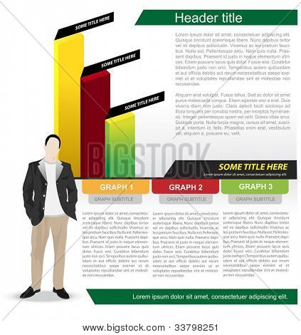 Abstract vector business background with graph and economist