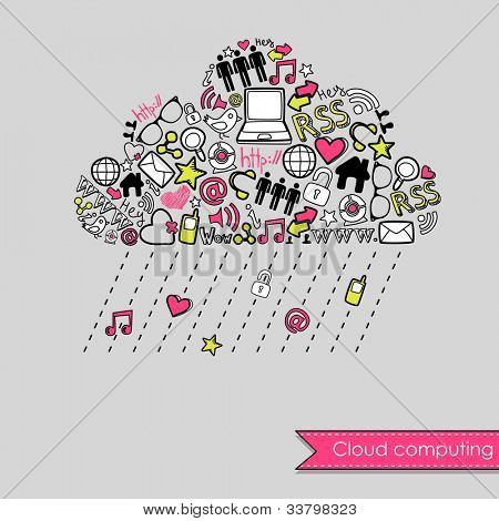 Raining Cloud computing and social media concept. Cute Hand drawn doodles