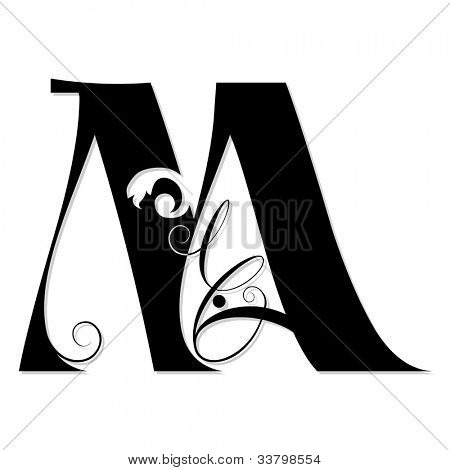 calligraphic letter M isolated on white background