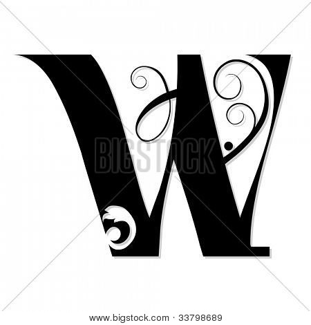calligraphic letter W isolated on white background