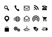 Icons Black And White, Icons, Online Store, Icon Pack, Home Icon, Telephone Icon, Mail, Icon, Naviga poster