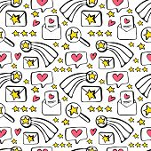 Seamless Pattern Concept Customer Feedback, Positive Review. High Rating In Application. Hand Drawn  poster