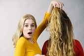 Woman Excited Looking On Her Female Friend Long Ombre Color Hair. Hairdo Colors, Haircare And Hairst poster