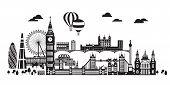 Vector Illustration Of Main Landmarks Of London. City Skyline Vector Illustration In Black Color Iso poster