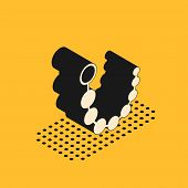Isometric Anal Beads Icon Isolated On Yellow Background. Anal Balls Sign. Fetish Accessory. Sex Toy  poster