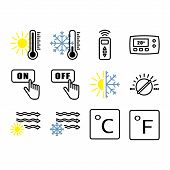 Climate Control Icons. Heating, Ventilating And Air Conditioning Symbols. Water Supply. Climate Cont poster