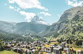 Picturesque Alpine Village Zermatt In Switzerland In The Summer Season. Famous Matterhorn Mountain I poster