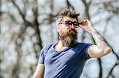 Bearded Man With Lush Hair. Cool And Trendy. Male Fashion And Beauty. Mature Hipster With Beard. Bea poster