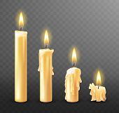 Burning Candle With Dripping Or Flowing Wax, Realistic Vector Illustration. White Candles With Golde poster