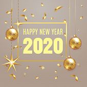 2020 Happy New Year Lettering Luxury Premium Design Text Template With Golden Confetti In Brown Eleg poster