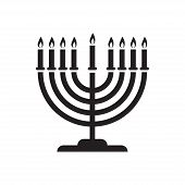 Happy Hanukkah Traditional Hanukkah Symbols. Menorah Hanukah Icon Isolated On White Background. Vect poster
