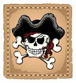 stock photo of pirate hat  - Vintage pirate skull theme 2  - JPG