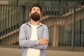 Right Here And Now. What Is On His Mind. Pensive Hipster Thinking Pleasant Thoughts. Man Bearded Hip poster