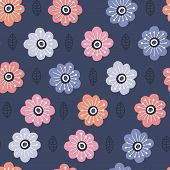 Abstract Asters In Nordic Style Handdrawn Seamless Pattern. Pink, Red, Orange, Skyblue Cartoon Flowe poster