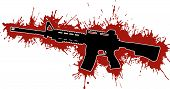 stock photo of ar-15  - Assault Rifle Silhouette with Blood Stains and Drips - JPG