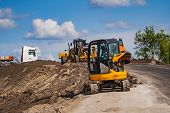 Tractor, Roller On The Road Repair Site. Road Construction Equipment. Road Repair Concept. Construct poster