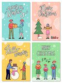 Four Winter Postcards That Greeting With Traditional Holiday. People Having Fun And Greet Each Other poster