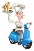 An Illustration Of A Cartoon Chef On Scooter Moped Delivering Hotdog poster
