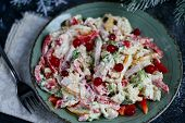 Salad Of Crackers, Peking Cabbage, Sweet Pepper, Hard Cheese, Balyk. Dressed With Mayonnaise Sauce.  poster