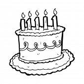 stock photo of birthday-cake  - cartoon birthday cake - JPG