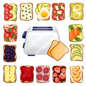 Toasted Bread With Various Delicious Toppers And Toaster. Breakfast Vector Top View Cartoon Icons. R poster