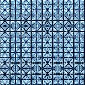 Tie Dye Shibori Seamless Pattern. Watercolor Hand Painted Indigo Blue Navy Ornamental Elements On Wh poster