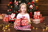 Merry Christmas And Happy Holidays. New Year 2020. Christmas Holiday Concept. Cute Little Girl In Re poster