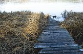 Boat Mooring In The Ice. Wooden Pier In Winter, Pier Frozen In The Ice. poster