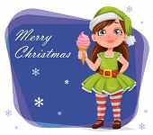 Merry Christmas Greeting Card. Cheerful Girl In Costume Of Elf. Kid In Santa Claus Helper Costume. C poster