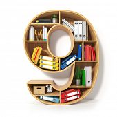 Number 9. Alphabet in the form of shelves with file folder, binders and books isolated on white. Arc poster