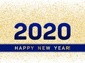 2020 Happy New Year Banner With Gold Glitter Rich Glossy Confetti. Geometric Frame With Glittering G poster