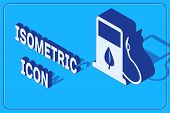 Isometric Bio Fuel Concept With Fueling Nozzle And Leaf Icon Isolated On Blue Background. Gas Statio poster