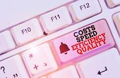 Writing Note Showing Costs Speed Efficiency Quality. Business Photo Showcasing Efficient Operation I poster