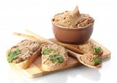 picture of canard  - Fresh pate with bread on wooden board isolated on white - JPG
