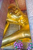 Right Arm Supporting The Head With Tight Curls Of The Reclining Buddha, One Of The Largest Buddha St poster