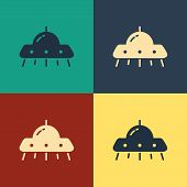 Color Ufo Flying Spaceship Icon Isolated On Color Background. Flying Saucer. Alien Space Ship. Futur poster