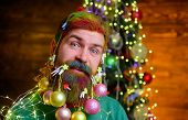Happy Santa Man With Decorated Beard. Christmas Beard Decorations. Decorated Beard. Merry Christmas  poster