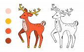 Coloring Page Outline Of Cartoon Cute Deer. Monochrome And Colored Versions. Coloring Book For Kids. poster
