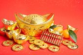 Chinese new year ornament--gold ingot,orange,golden coin and golden abacus,Chinese calligraphy Trans poster
