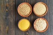Set Of Groats For Gluten-free Fodmap Diet, Long Carbohydrates, Brown Rice, Corn, Quinoa, Oats. Mix O poster