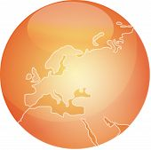 Map Of Europe Sphere poster