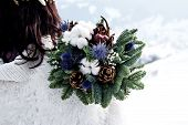Winter Bouquet Of The Bride. Fir Branches, Cotton Flowers In A Brides Bouquet poster